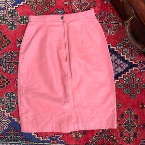 VTG Pink Leather Pencil Skirt